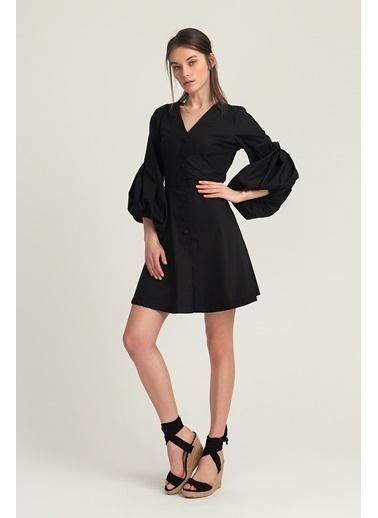 Kol Detaylı Kloş Elbise-Setre